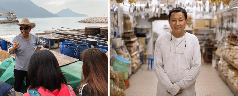 八十年歷史,四代人傳承,兩個本地品牌,將會開放店舖讓公眾參觀,另有導賞介紹。(左)勝利香蝦廠;(右)益昌號海味