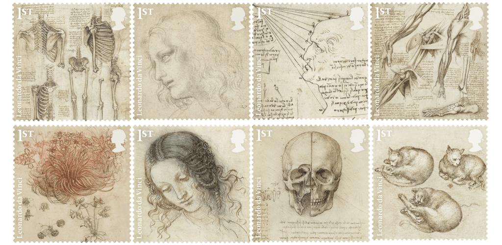 英國將發行十二款達文西紀念郵票,此為當中的八款。