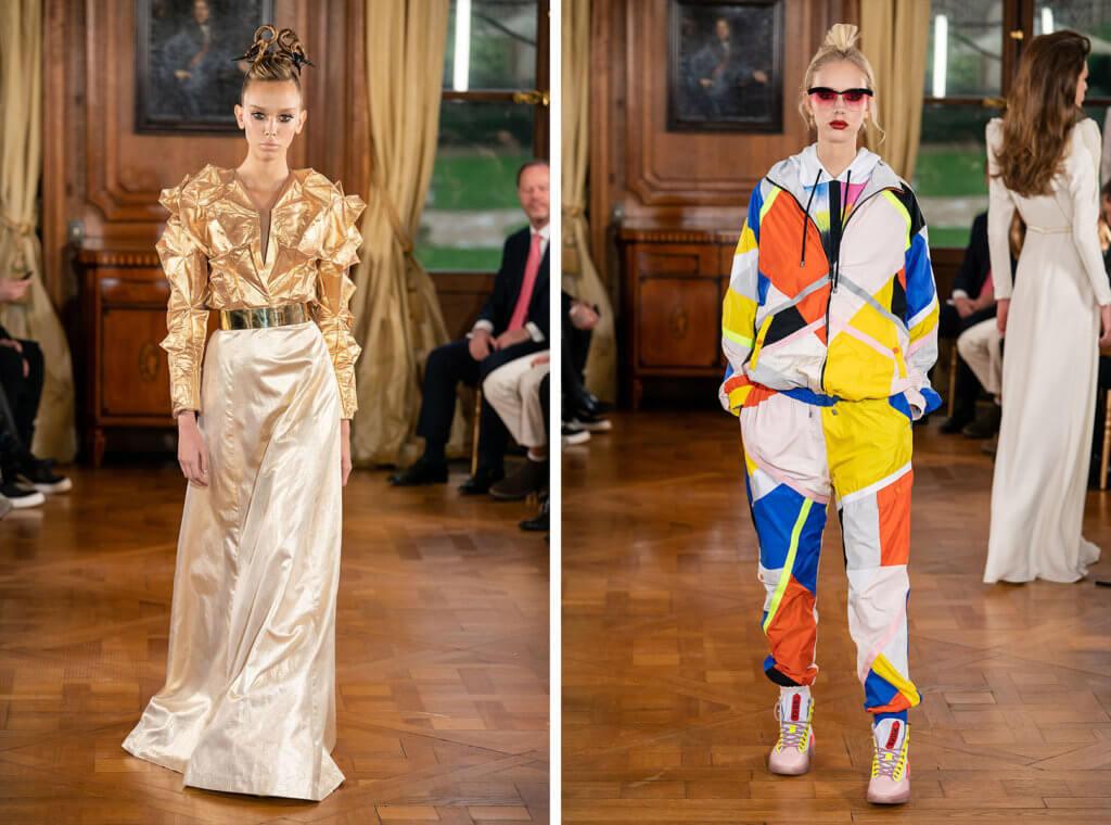 Ronald van der Kemp首個Haute Couture系列手工略為粗糙且不太合身,更有一套似乎有點格格不入的拼布運動服。