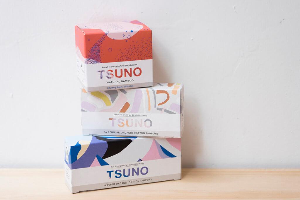 澳洲竹衛生巾品牌Tsuno,包裝盒設計用心得如化妝品。