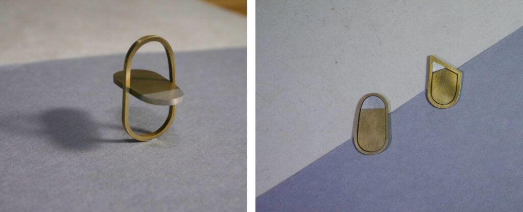"""作品""""Flat and sharp""""用黃銅製成。這隻戒指看似平面,當戴上去,中間的銅塊便會懸浮,強調身體與金屬之間的關係。"""