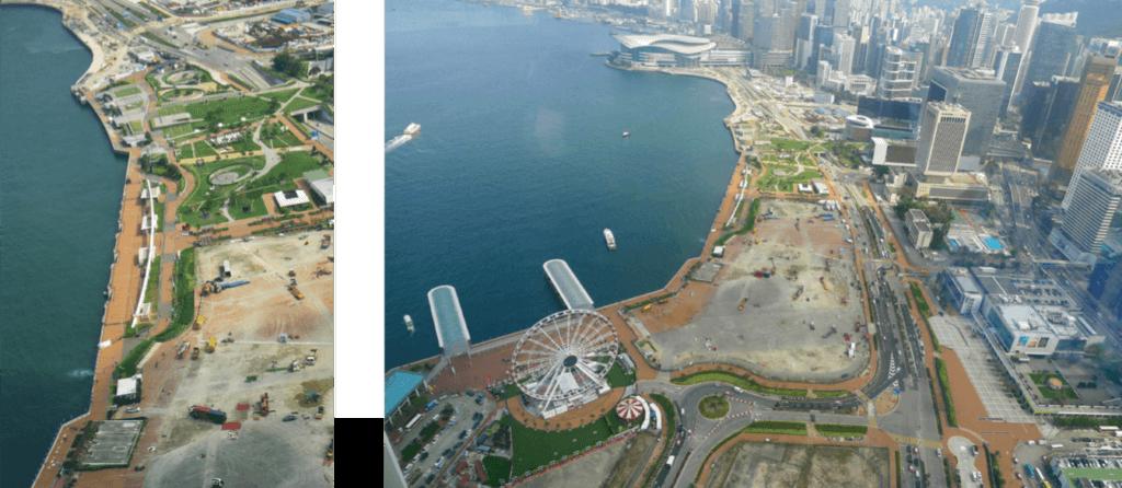 中環填海區的鳥瞰圖 ,還有人民解放軍碇泊處的近景特寫。(圖片由作者提供)