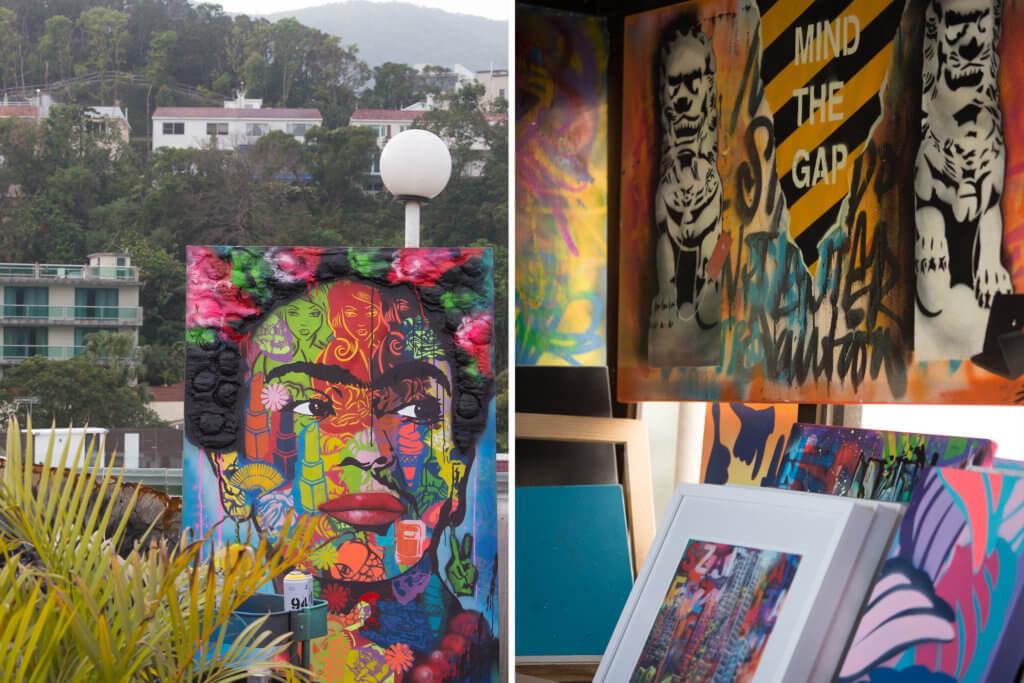 Szabotage的作品常常融入大量的香港元素,層次和色彩豐富而飽滿。
