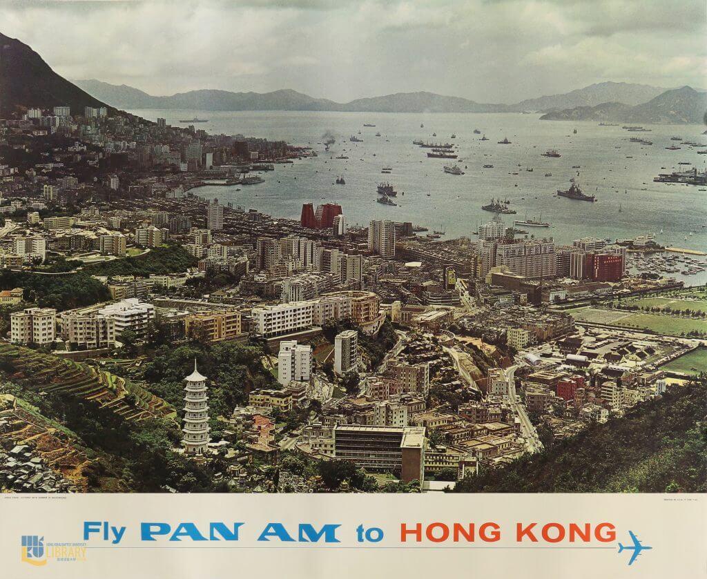 六十年代起不少旅遊海報以攝影主導,如這張1965年的超高清照片,清楚見到銅鑼灣和灣仔一帶於六、七十年代重建前的景貌。