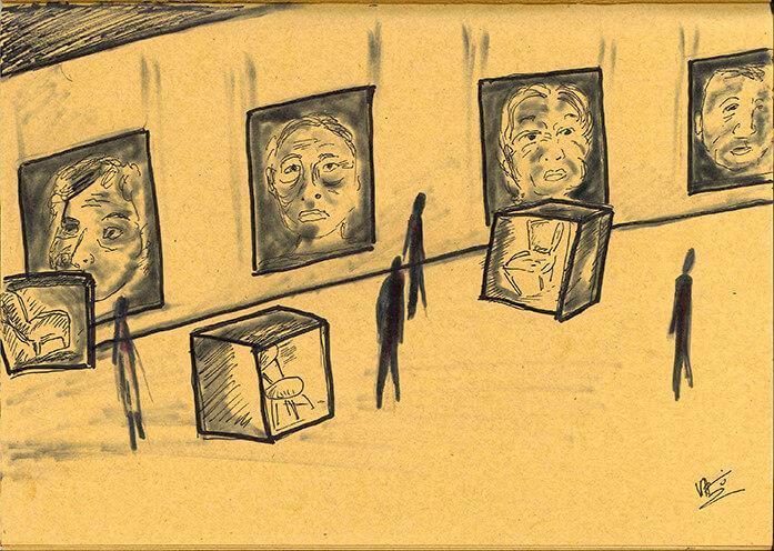 蔡明亮手繪的《你的臉》展覽設計圖(網絡圖片)