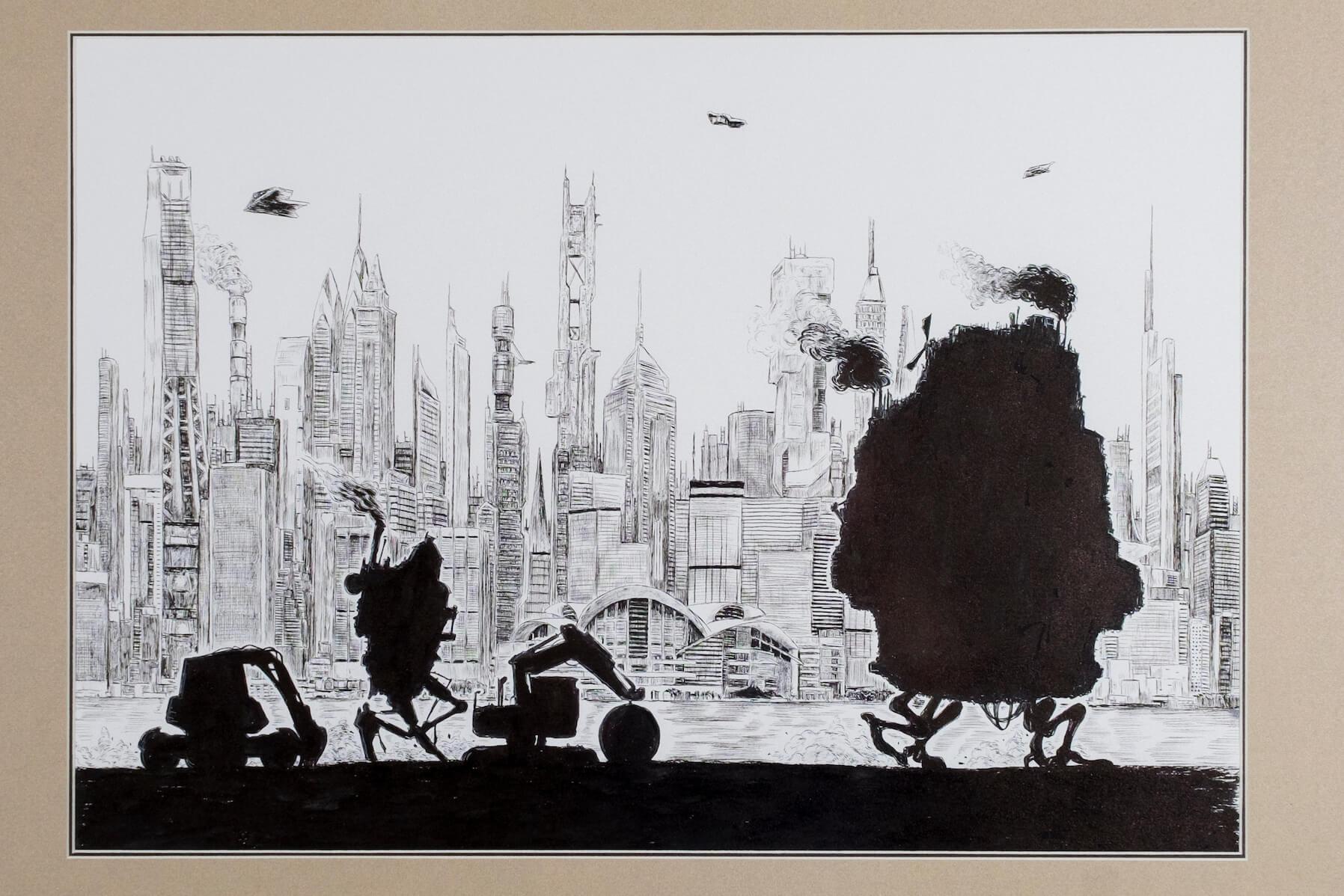 唐樓被推土機窮追,Pen So刻意以黑影表達這一幕,製造卡通感。