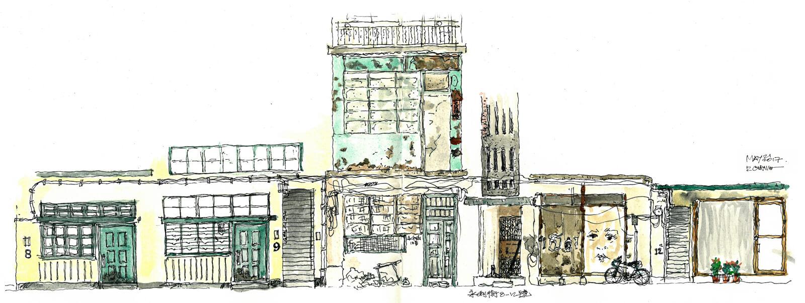 速寫感受:「永利街活化前後的破舊精緻對比,卻共同面對被歲月偷去的情味!」(插畫:Richie Cheung)