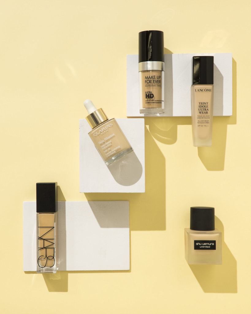 (from left to right) NARS Natural Radiant Longwear Foundation $470 CLARINS Skin Illusion Natural Hydrating Foundation SPF15 $350 MAKE UP FOR EVER Ultra HD Invisible Cover Foundation $380 LANCOME Teint Idole Ultra Wear Liquid Foundation $390 SHU UEMURA unlimited foundation SPF24/ PA+++ $350