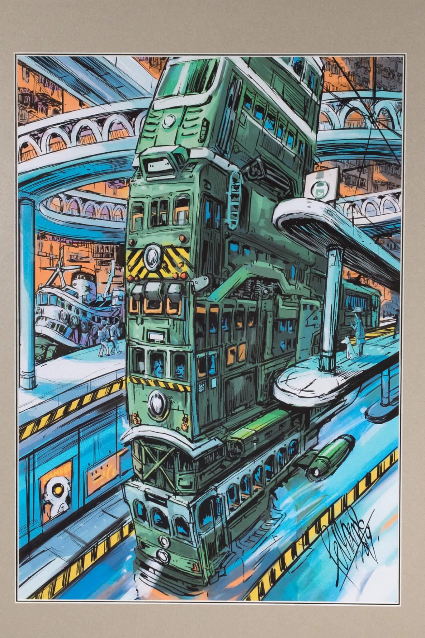 不同年代的電車疊起行駛,真的可以嗎?糖街天橋在此增添了科幻感。
