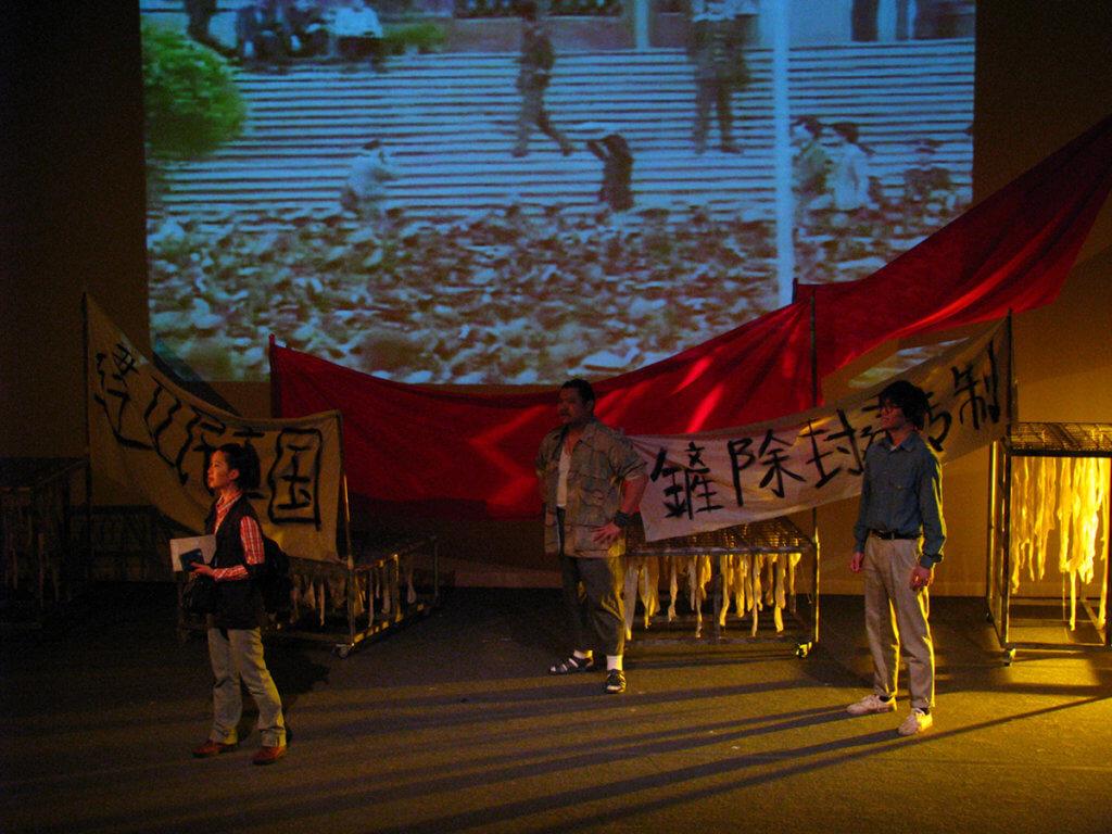 2009年劇作《在廣場放一朶小白花》,於次年重演,講述1989年,一位香港女記者在北京遇上民運學生,在亂世中相識相知。2012年學校巡演劇目《讓黃雀飛》,重現昔日香港人透過黃雀行動營救大陸異見人士。