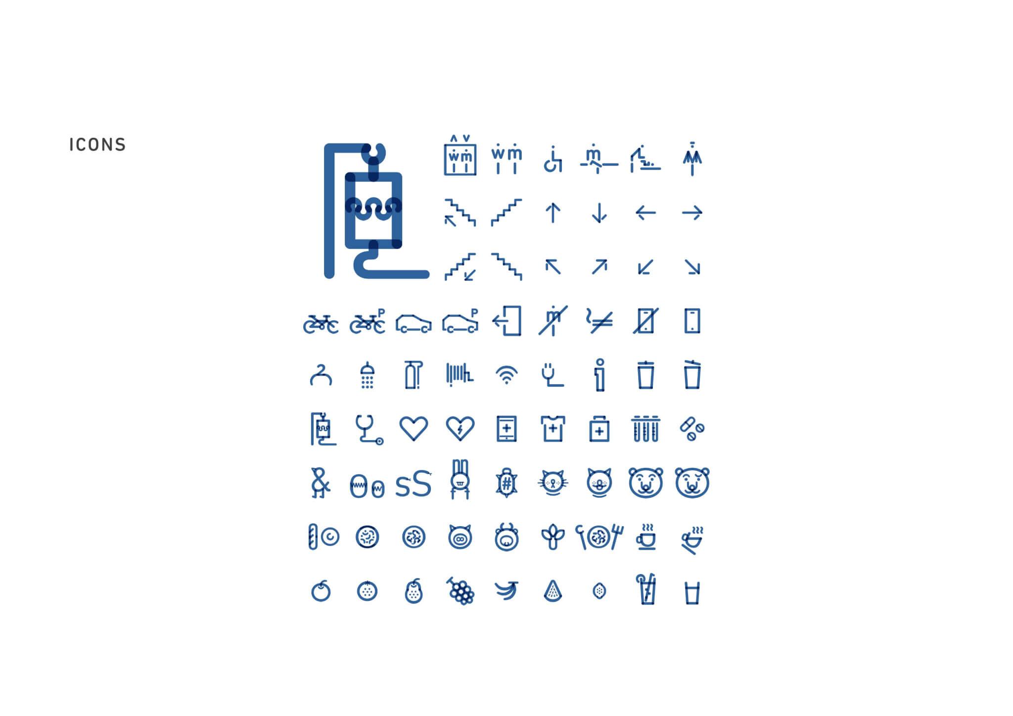 院內不同標誌都統一採用她的點線加字母組合設計。首排第六個天使標誌代表殮房。
