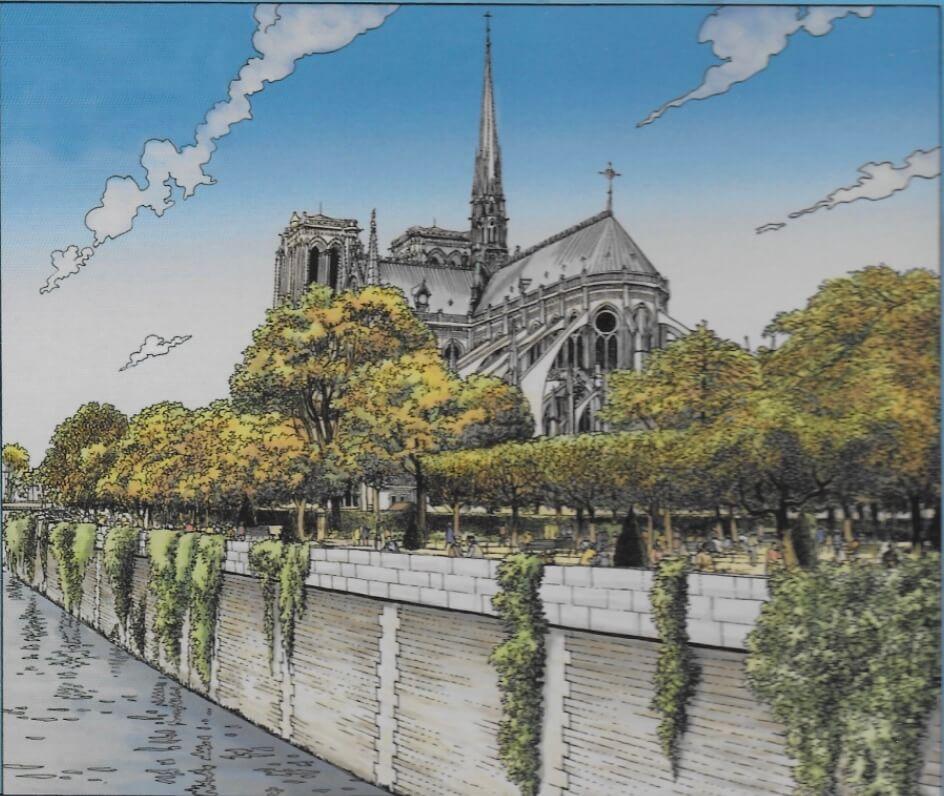 巴黎聖母院背影
