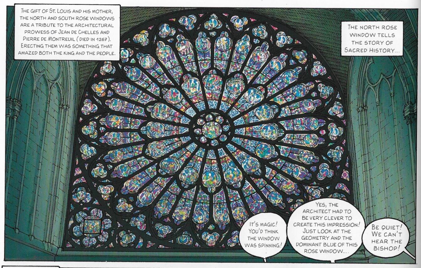 巴黎聖母院的玫瑰染色玻璃窗