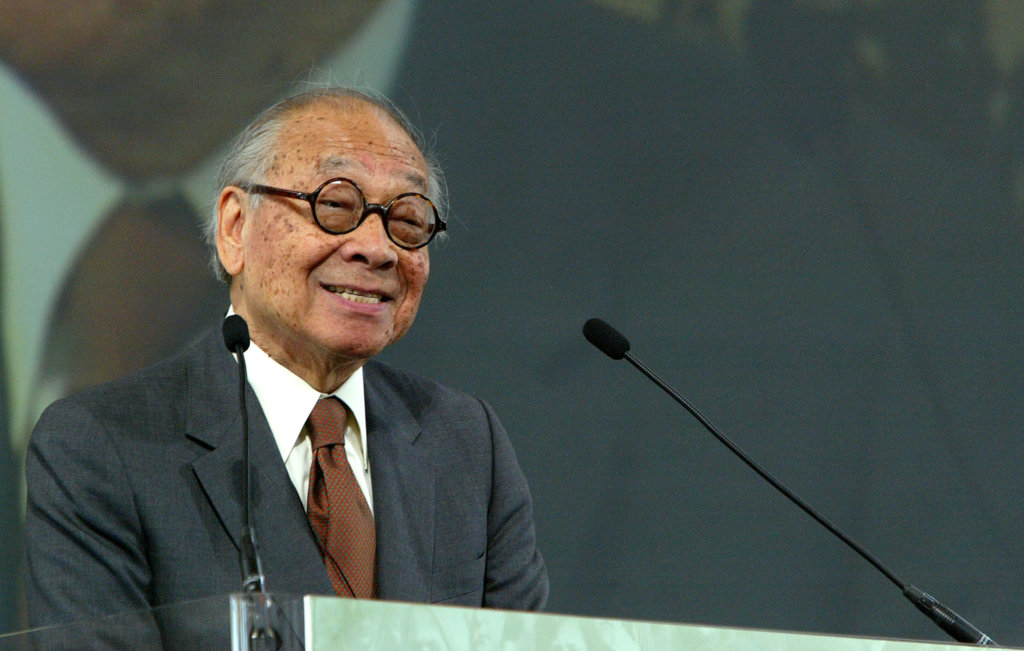 FILE - MAY 16, 2019: It was reported that legendary Chinese American architect I.M. Pei, whose designs include the glass pyramid at Louvre Museum in Paris, the Museum of Islamic Art in Doha, the National Gallery of Art's East Building, and the Jacob K. Javits Convention Center, has died at the age of 102. NEW YORK - APRIL 21: Architect I.M. Pei Speaks after being honored with an Ellis Island Family Heritage Awards at the Ellis Island Museum, April 21, 2004 in New York City.   Paul Hawthorne/Getty Images/AFP