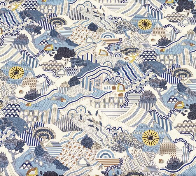 插畫師Tristan Bonnemain設計的登山畫作牆紙系列Semmering,橫幅設計提供如風景般的景觀。
