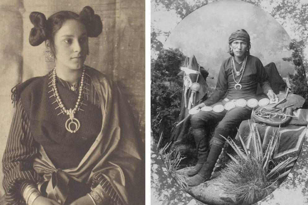 納瓦霍族(Navajo)做的銀器稱為Navaho,一般由半月形或圓形花紋拼湊而成,還有「卐」字、雷鳥、箭頭等圖案。