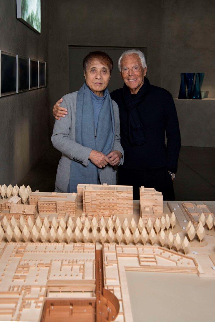 從二十年前的品牌總部到展館,安藤忠雄(左)和Giorgio Armani(右)合作多年,今年能夠在Armani / Silos空間辦安藤忠雄的建築回顧展,實屬美事。(圖片由品牌提供,攝影:SGP)