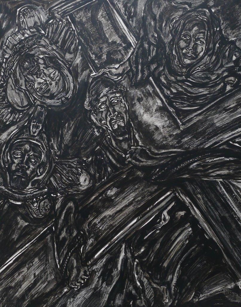 Daniel Coquilla(菲律賓)、伊思塔永VII (苦路第七處),墨水筆紙本,52 x 40.5厘米,2000年。(作者藏品)