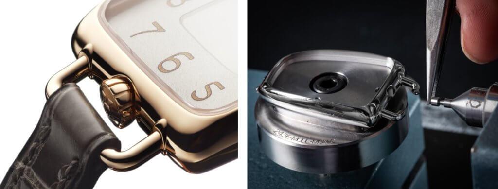 錶冠設於6時位置,設計獨特。(左) 全錶沒尖角位,長梯形錶面通通都是圓角。