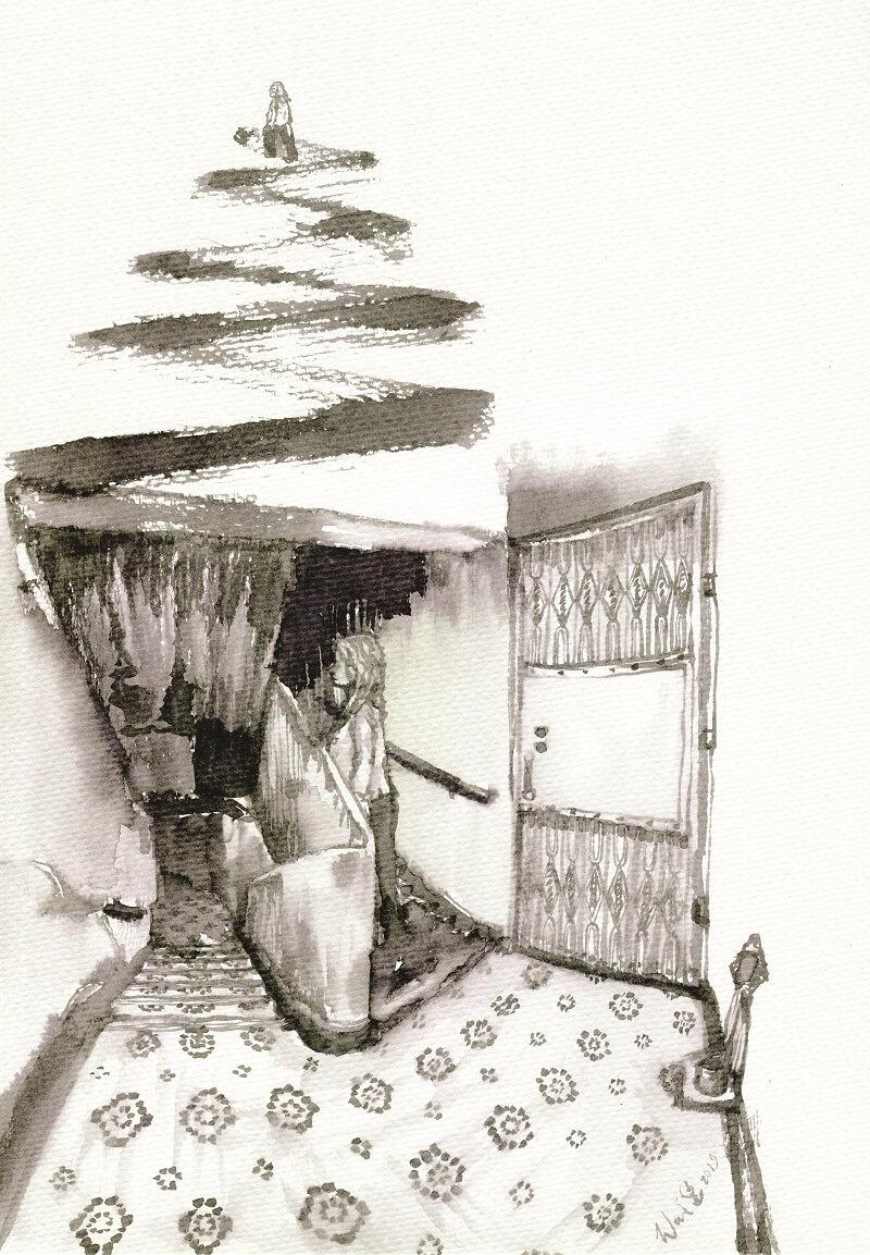 選上唐九樓,一個字說完,平。多平?4000大元。要平,就平到底,所以她全屋的家俬除了雪櫃,也是自己和友人兩個,夾手夾腳,逐件逐件搬上去。(插畫:慧惠 Wai Wai)
