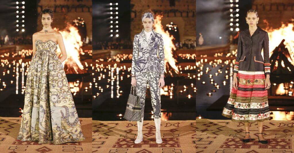 新系列基於Chiuri在Dior的標誌性款式,比如連身衣、西裝外套配長裙、斗蓬、透視晚裝長裙,圖案色調如萬花筒般變化萬千,充滿異國風情,結合優雅與帥氣,歌頌當地的文化與工藝。