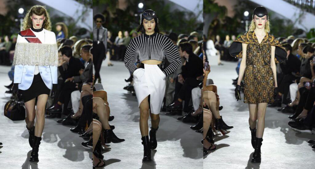模特兒化上八十年代妝容,帶點搖滾卻同時充滿復古味道;Ghesquière將傳奇建築輪廓化作印花、刺繡和織錦,叫人心動莫過於飾上水晶如翅膀般的上衣,配窄身長褲或裙裝同樣有型。