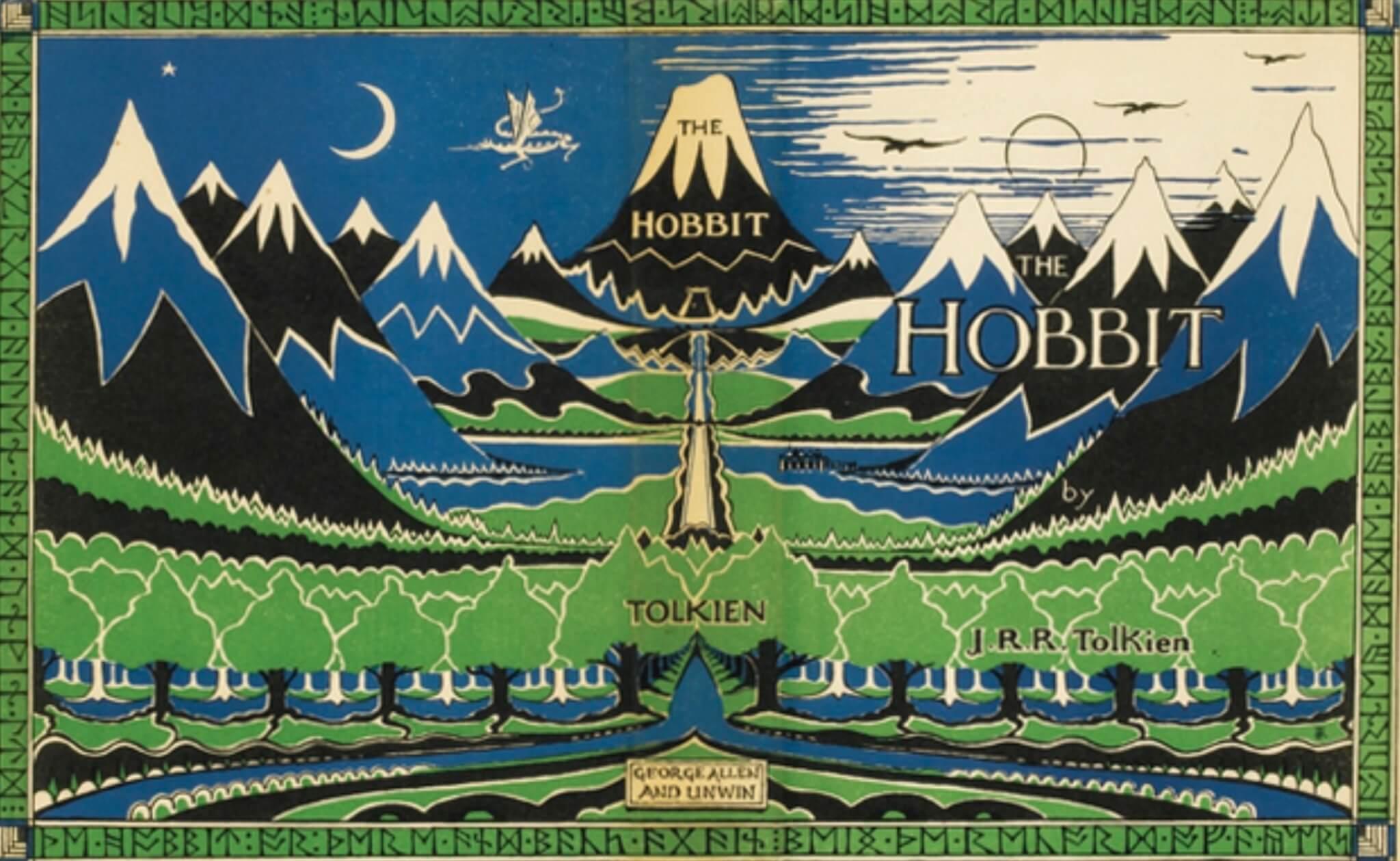 《荷比》(The Hobbit)初版封面畫,陶更親自設計,以樹為主題。此書初版可值美金二十萬。