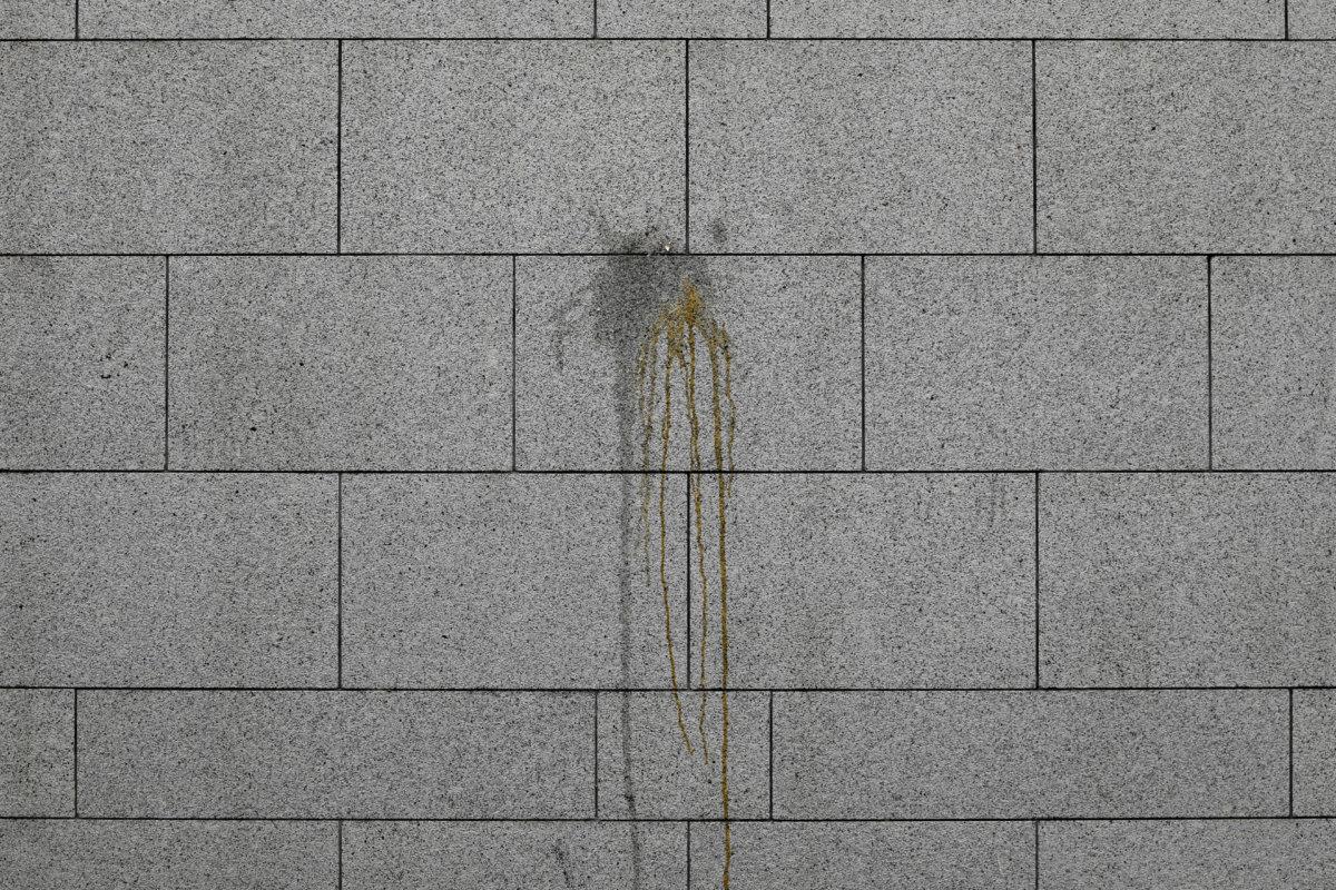6月22日,示威者包圍警察總部的翌日早上,余偉建返回現場,記下留在牆上的雞蛋痕迹。「這圖片象徵雞蛋擲向高牆,儘管一撞即碎,仍留下了歷史痕迹。」(AP Photo/Vincent Yu)