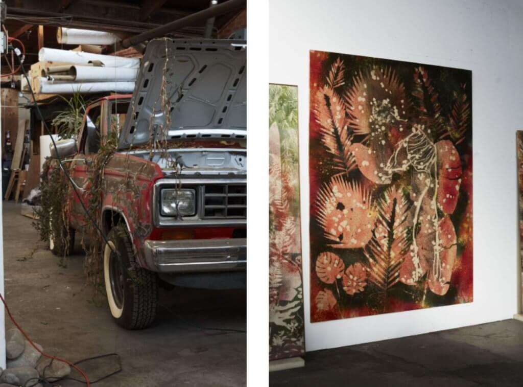 藝術創作讓Falls與大自然連上關係,他亦喜歡使用山上、沙漠或隨處找到的物品,例如輪胎、蕨類植物和棕櫚樹。
