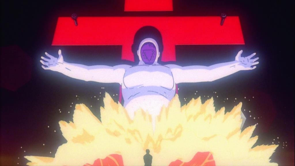 組織SEELE安排人類製造的阿當(也 即是初號機)跟莉莉斯融合以達至第 三次衝擊,犧牲全球人類「造神」。