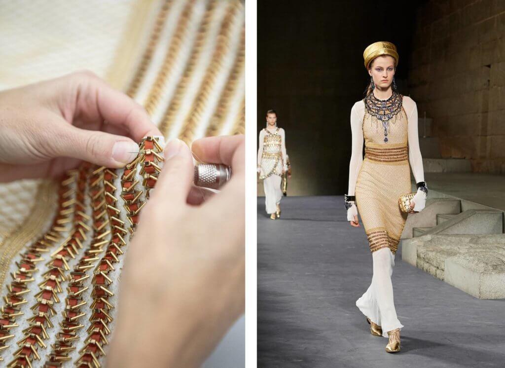 Atelier Montex擅長使用十九世紀的Cornely機器編織,機器在白色薄紗上造出由金色珠鏈構成的漁網圖案,再於腰間和領口位置繡上玻璃和金屬管的立體裝飾。