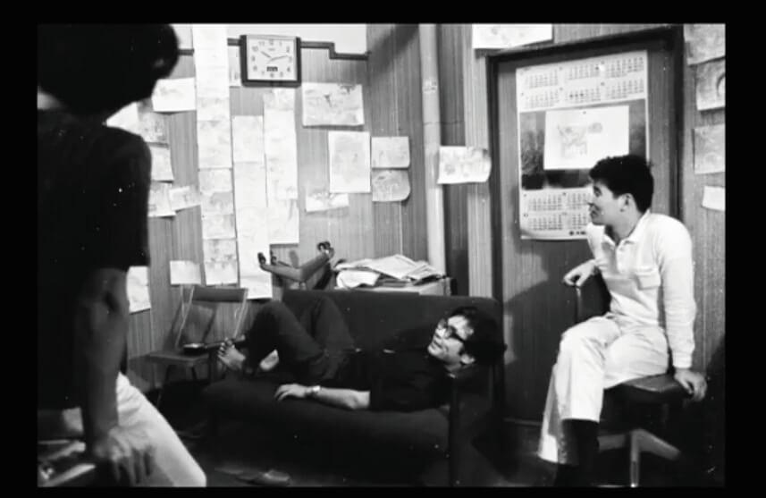 (中)宮崎駿與(右)高畑勳相識於微時,在電視年代共事時曾作出不少嘗試,亦曾參與工運,共同進退。