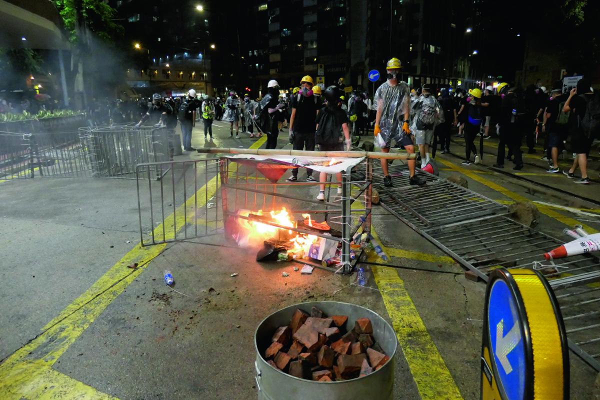 A bonfire in Causeway Bay