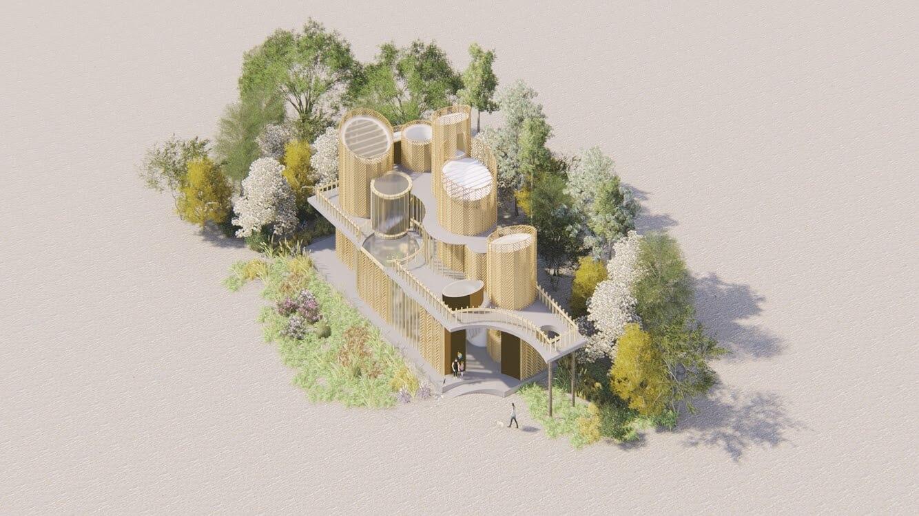 二人替一名香港人設計位處柬埔寨的酒店。造型啟發自酒店前身的釀米酒廠,所以建築形狀像一個大酒桶,「斜切」細節則取自當地美食「米紙巻」。