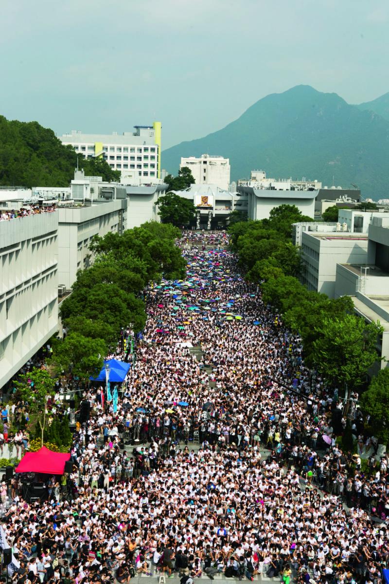 百萬大道罷課集會,參與學生達一萬三千名。