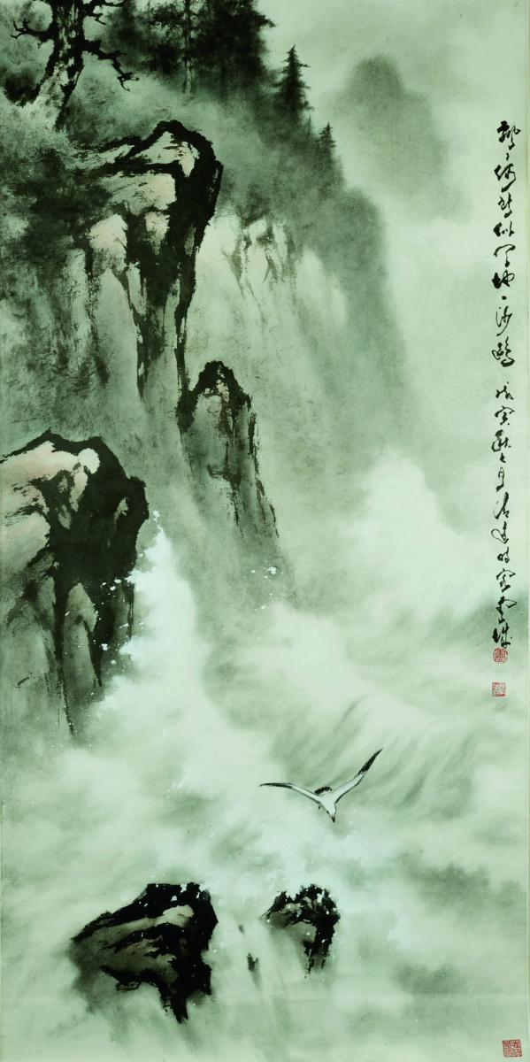 嶺南派重視寫生,盧也多往大自然尋找靈感。圖為《天地一沙鷗》。