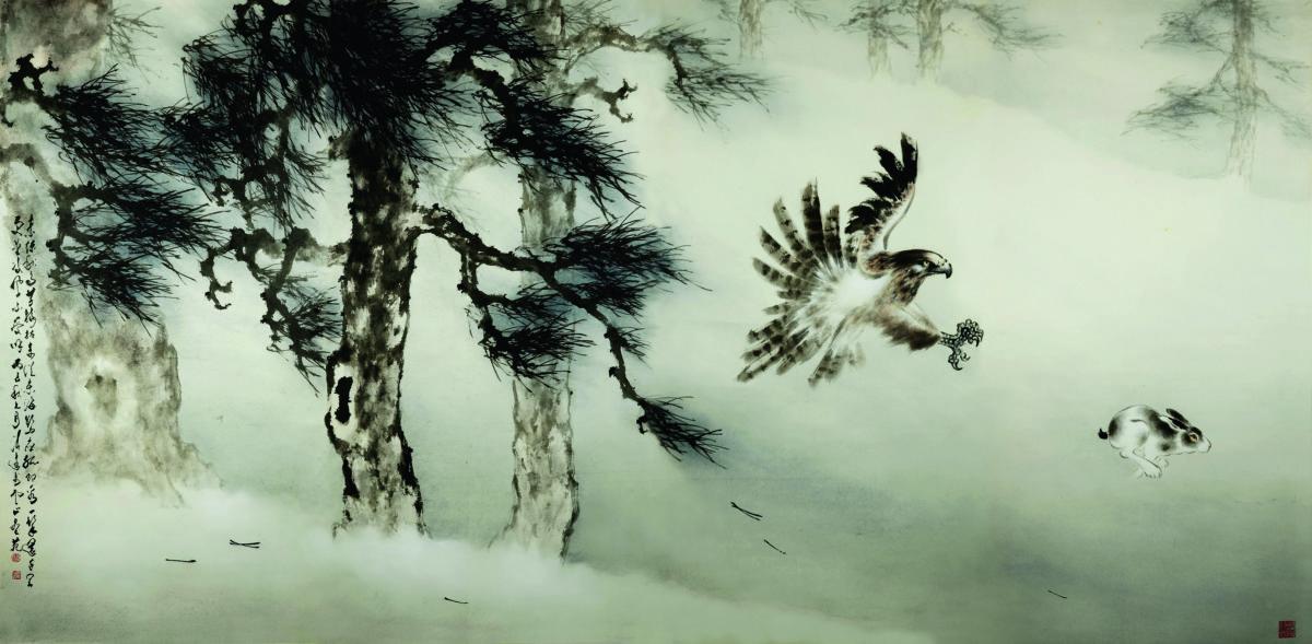 盧清遠喜歡畫鷹,從中寄寓個人嚮往自由的心情。圖為《飛鷹捕兔》。