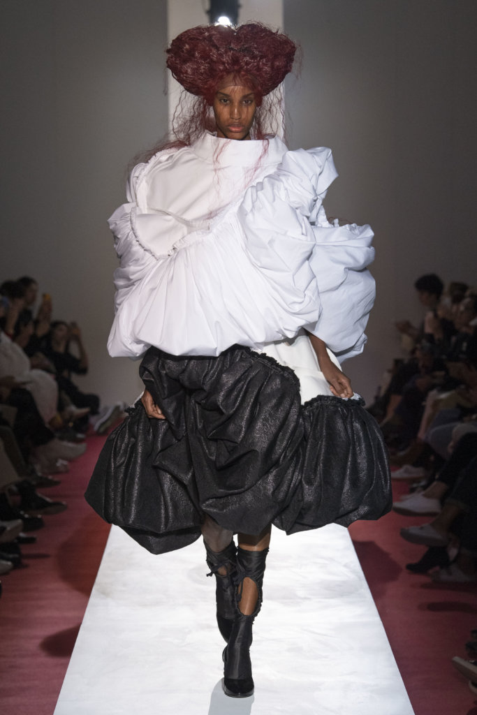 Model wears an outfit , as part of the pret a porter 2020, fashion week, Paris, France, from the house of comme des garçons