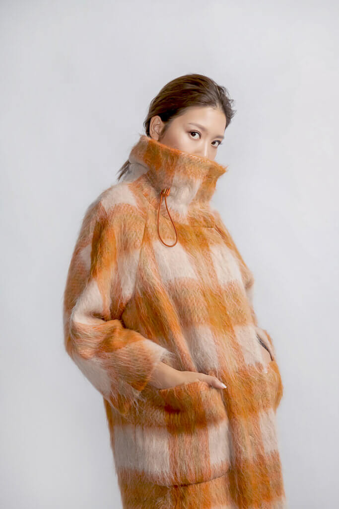 OVERSIZED CHECK COAT WITH TURN-UP COLLAR - $11080