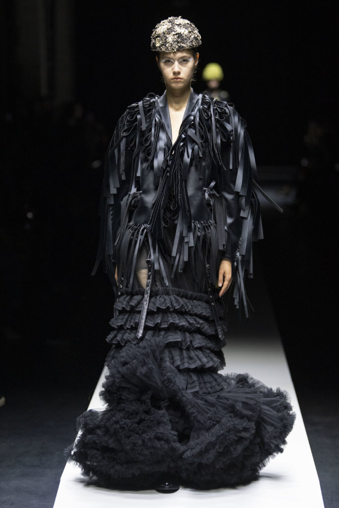 Model wears an outfit , as part of the pret a porter 2020, fashion week, Paris, France, from the house of Noir