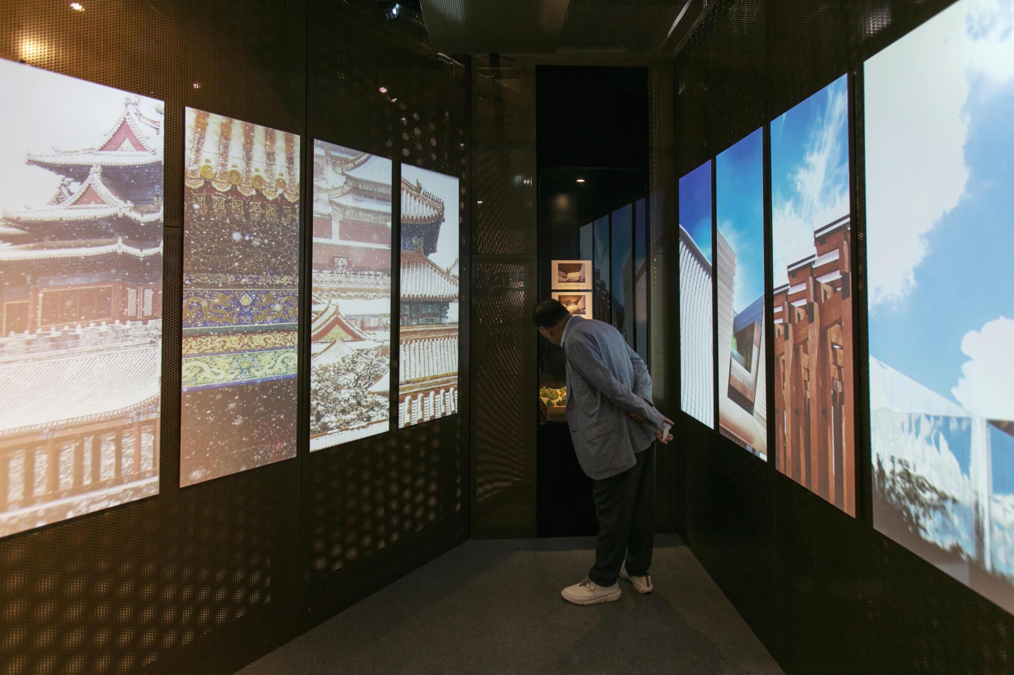 香港故宮小展亭中,利用多媒體展示中國傳統藏品。