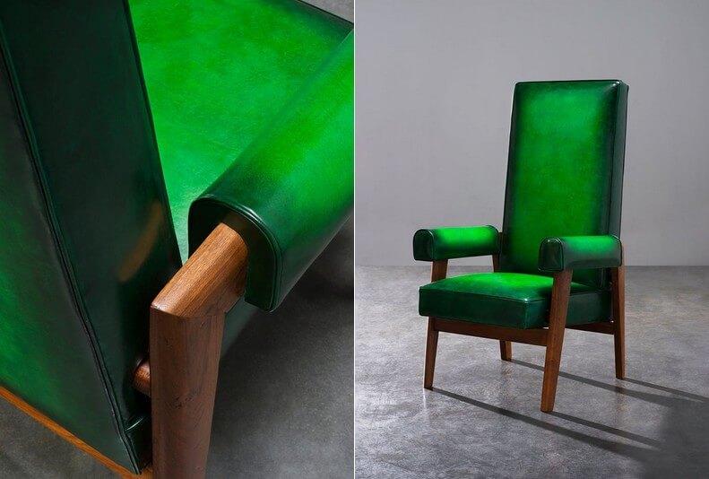 十七件Pierre Jeanneret家具,包括支架書桌、扶手椅、觀影椅、袋鼠椅、疊屏風、沙發床等等。