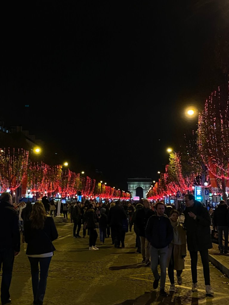 Christmas lights on Champs-Elysées.