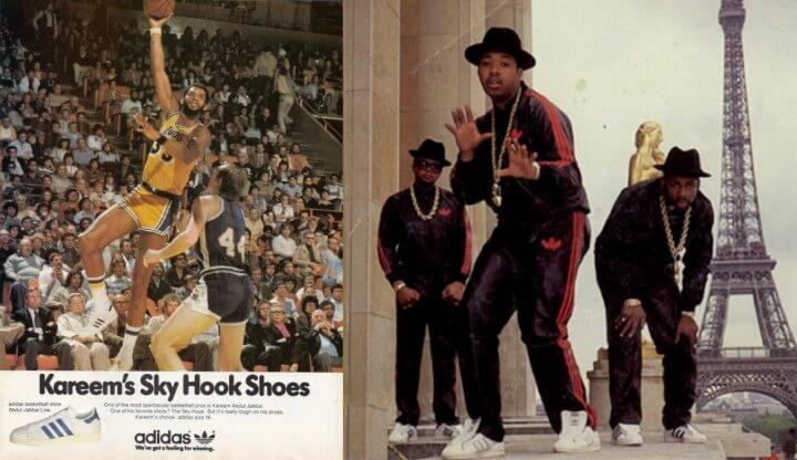 八十年代因Hip Hop組合 RUN-D.M.C.以金項鍊搭配不繫鞋帶的Superstar示人,掀起全球熱潮。