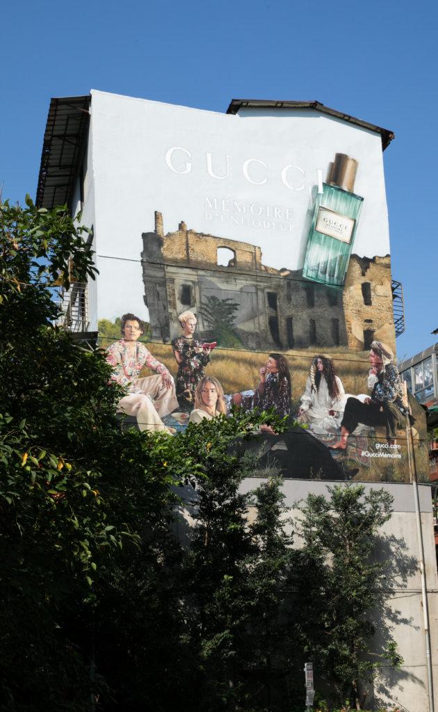 台北大安區的永康街的Gucci藝術牆
