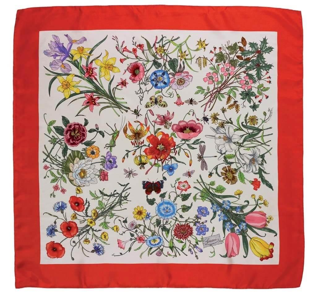 foulard-modello-flora-1966-seta-stampata-cm-86-x-88
