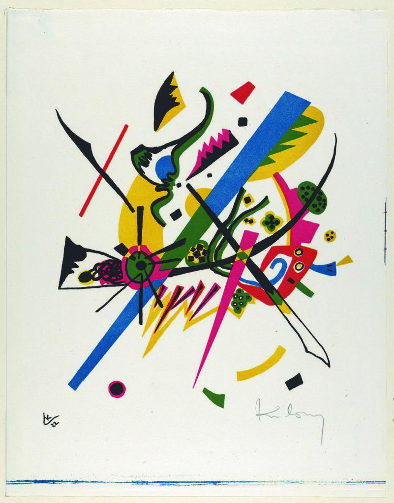 俄羅斯畫家Wassily Kandinsky在Bauhaus任教了11年,歷經三朝Bauhaus校長,主要教授繪畫,曾主理壁畫工作坊,這時期他亦積極研究和教授色彩和形態理論,他提出正方形、圓形和三角形,本質上應該分別是紅色、藍色和紅色。這說法後來成為不少Bauhaus的經典形象。圖為他的畫作Small Worlds I (1922)。