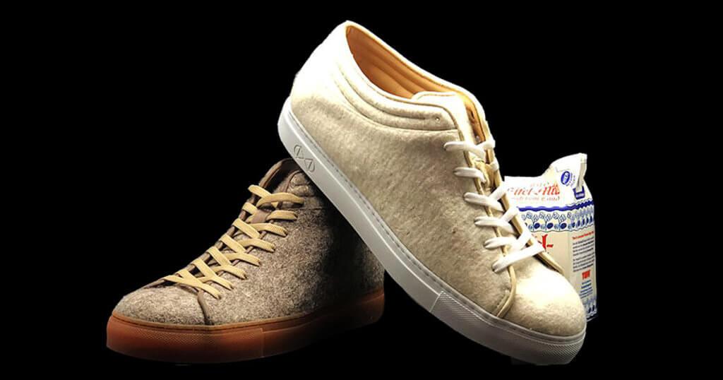 """鞋履品牌nat-2,基於德國每年被廢棄的牛奶高達200萬噸,反而將這些牛奶變成物料製鞋""""Milk Shoe""""。"""