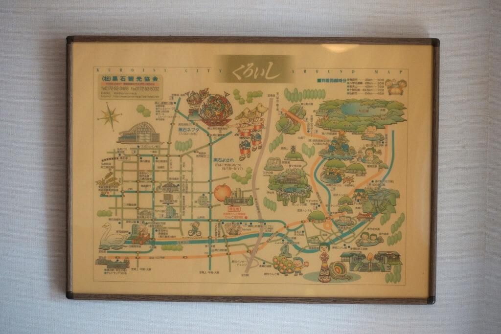 館內設有一張發黃的地圖,印有青森黑石市的境點,細看可看到蘋果資料館和研究所是重點旅遊項目,也看見青森縣着力發 展蘋果旅遊業。