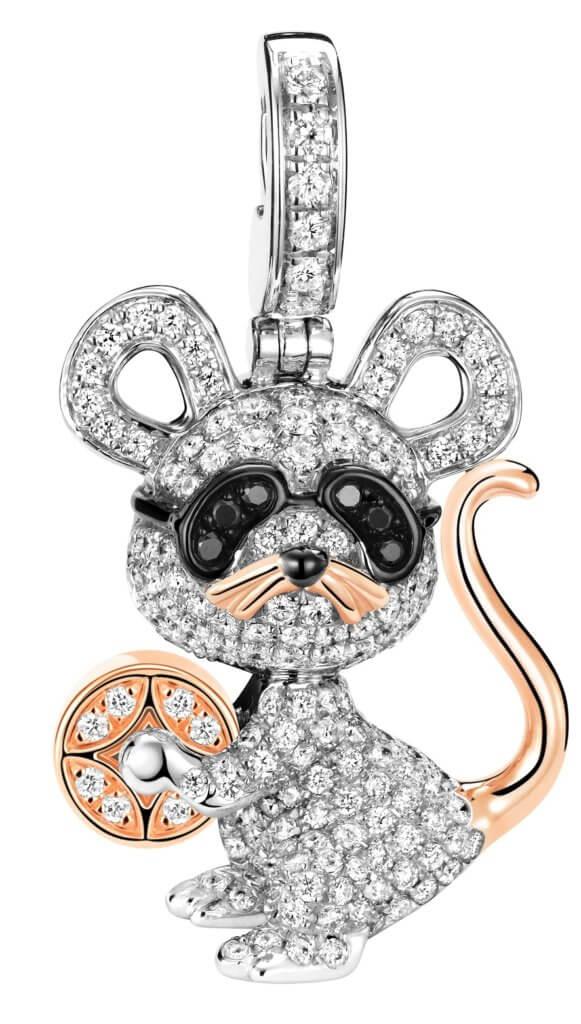 Bo Bo Mouse 18K 白金、玫瑰金、鑽石和黑鑽石吊墜 (全球限量發行 88 枚)$58,800